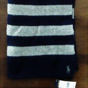 Ralph Lauren Rib Knit Cashmere Blend Striped Scarf